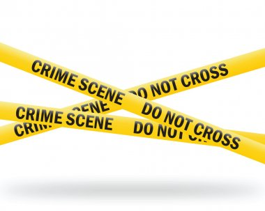 Vector illustration of a crime scene tape on the white background stock vector