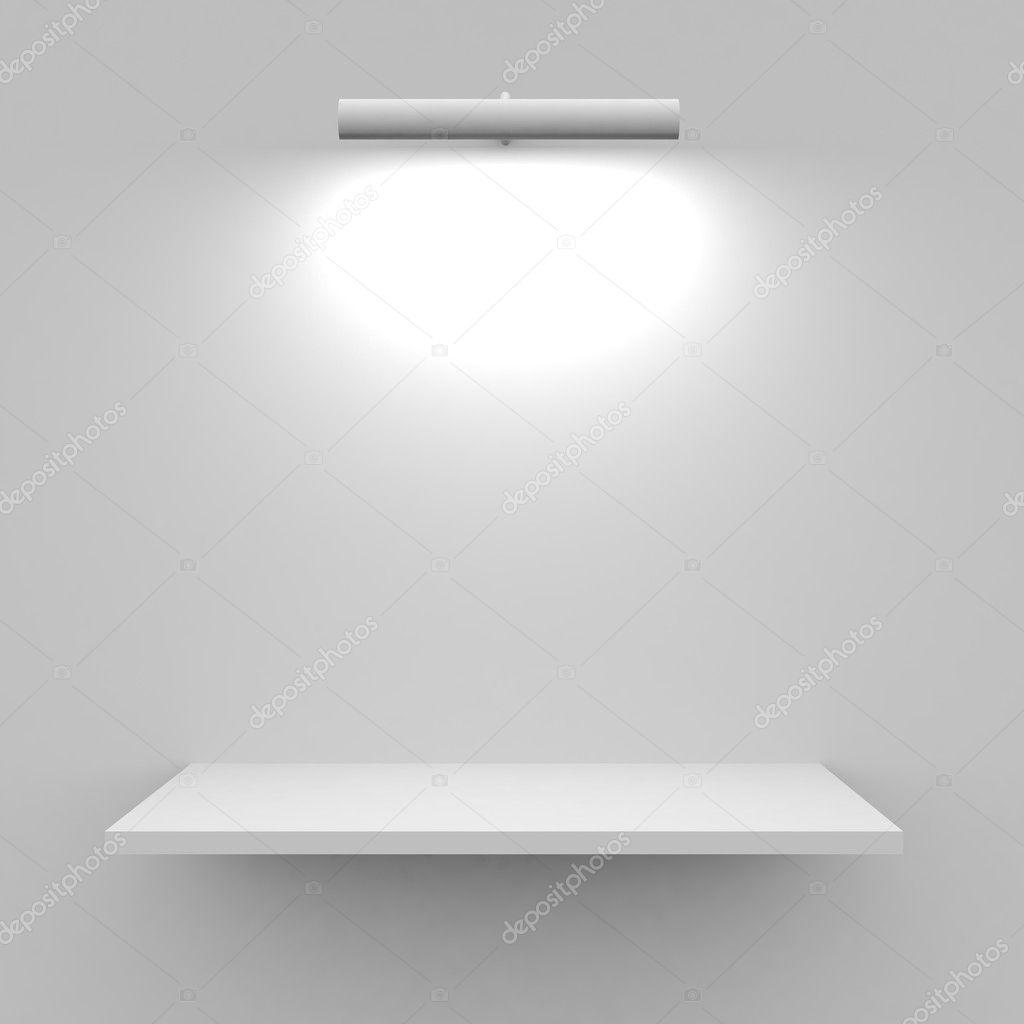Wandplank Met Lamp.Lege Witte Plank Met Lamp Stockfoto C Kovaleff 5517676