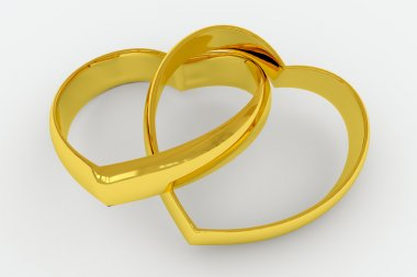 Heart shaped gold wedding rings