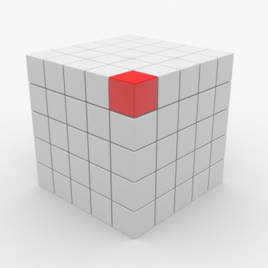 Abstract cube assembling from white blocks and one red block on