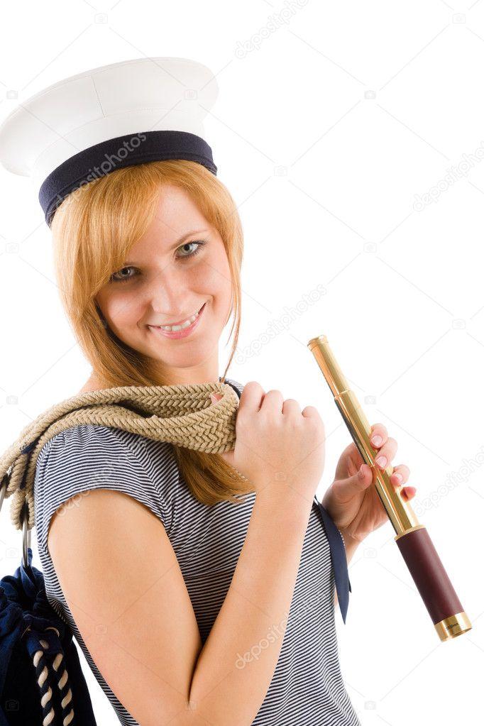 f2ce19bc2dbbd joven Marina con catalejo en sombrero de marinero — Foto de stock ...