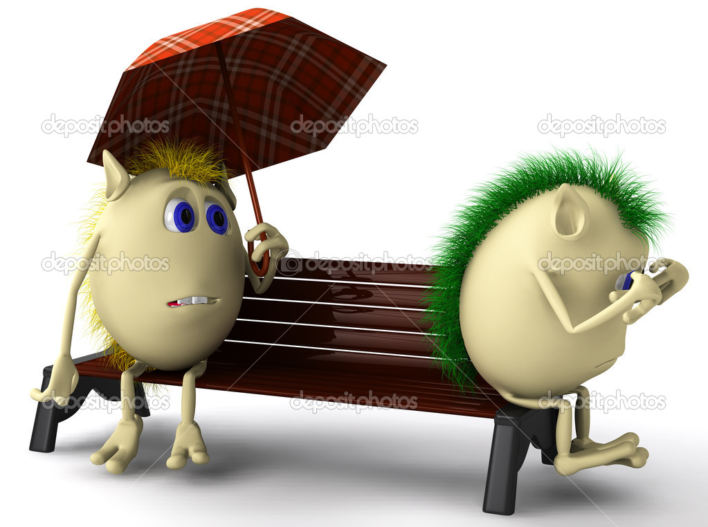 Two unhappy puppets sitting on brown bench