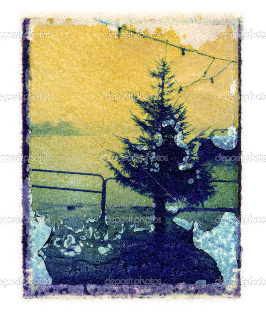 Christmas tree polaroid transfer