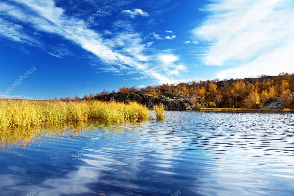 Mountain autumn lake in north of Russia