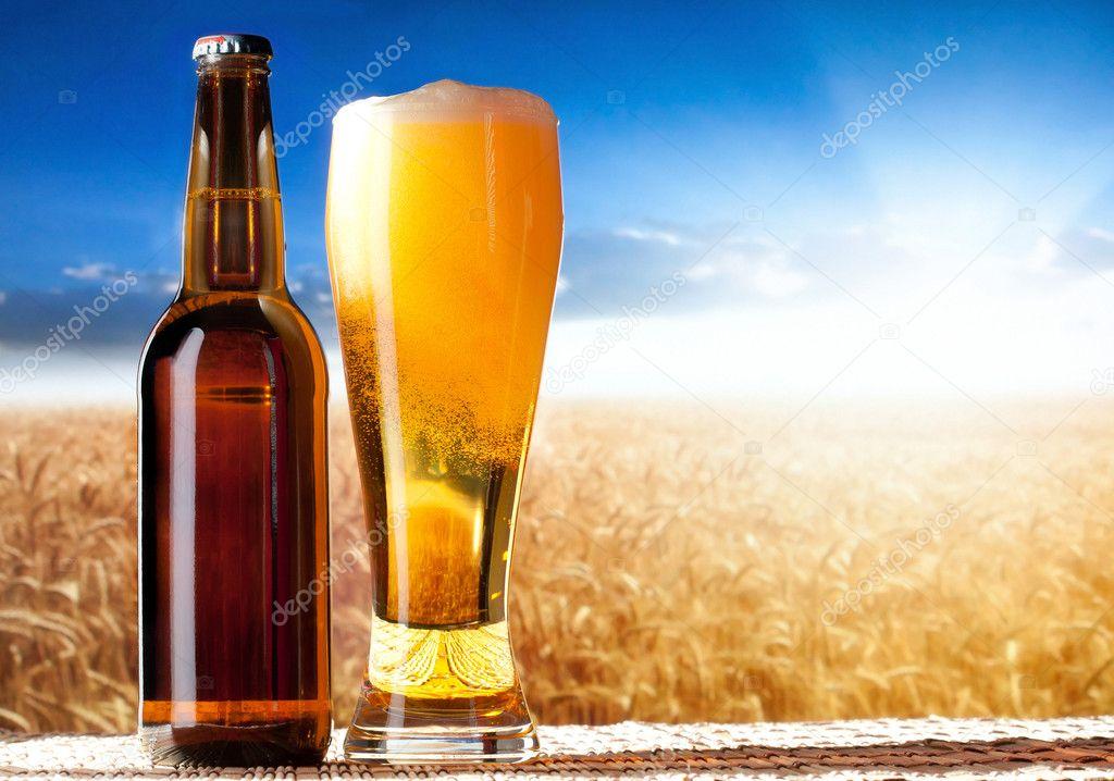 Beer in a landscape