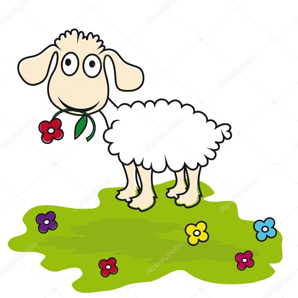 Cartone animato pecora agnello vettoriale — vettoriali