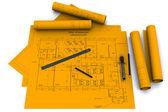 iránytű, vonalzó és ceruza narancssárga építészeti rajzok