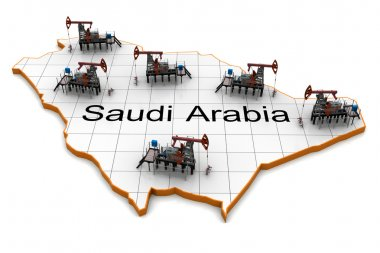 Oil pump-jacks on a map of Saudi Arabia