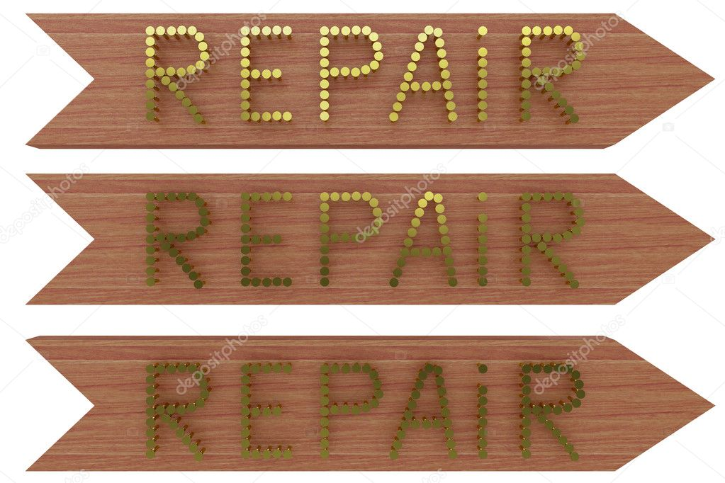 On a wooden board with nails gold embossed word