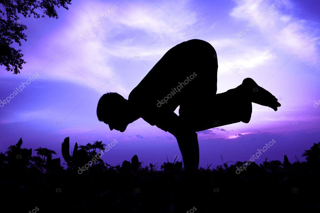 Yoga silhouette bakasana crane pose