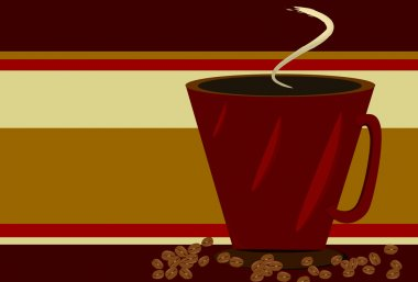 Red Coffee cup and coffee beans on Gold BKGD