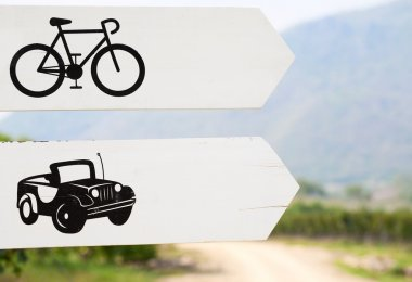 Cars and Bikes Way Sign