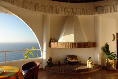 Open air luxury master bedroom stock vector