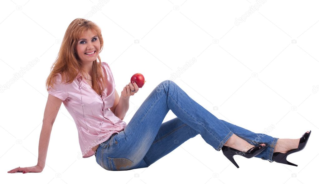 Happy mature woman old jeans pant stock photo