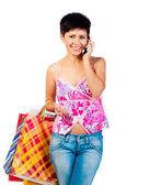 schöne Mädchen mit shoping bsgs