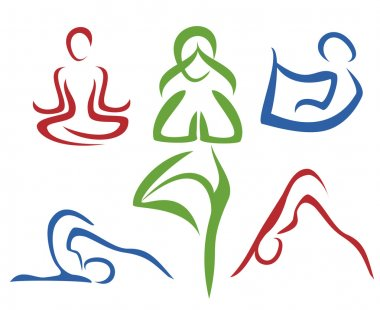 Yoga poses symbols set in simple lines part1