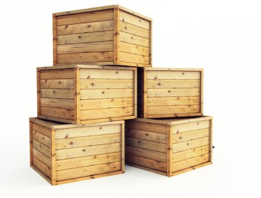 Several wooden crates