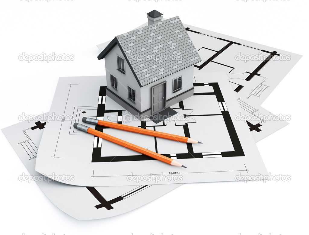 Architecture Blueprints 3d house on architecture blueprints — stock photo © bioraven #5809282