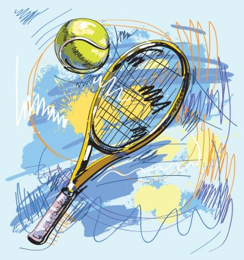 Vector illustration - Tennis racket and ball