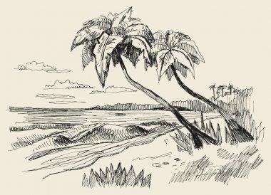 Original hand drawn picture of sea