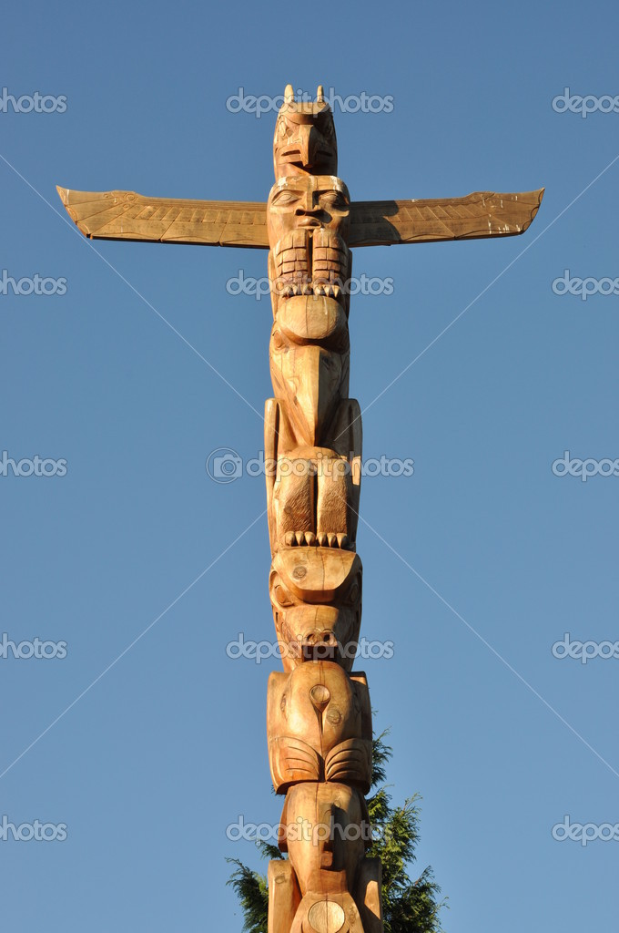 Totem shaped in Stanley park, BC Canada