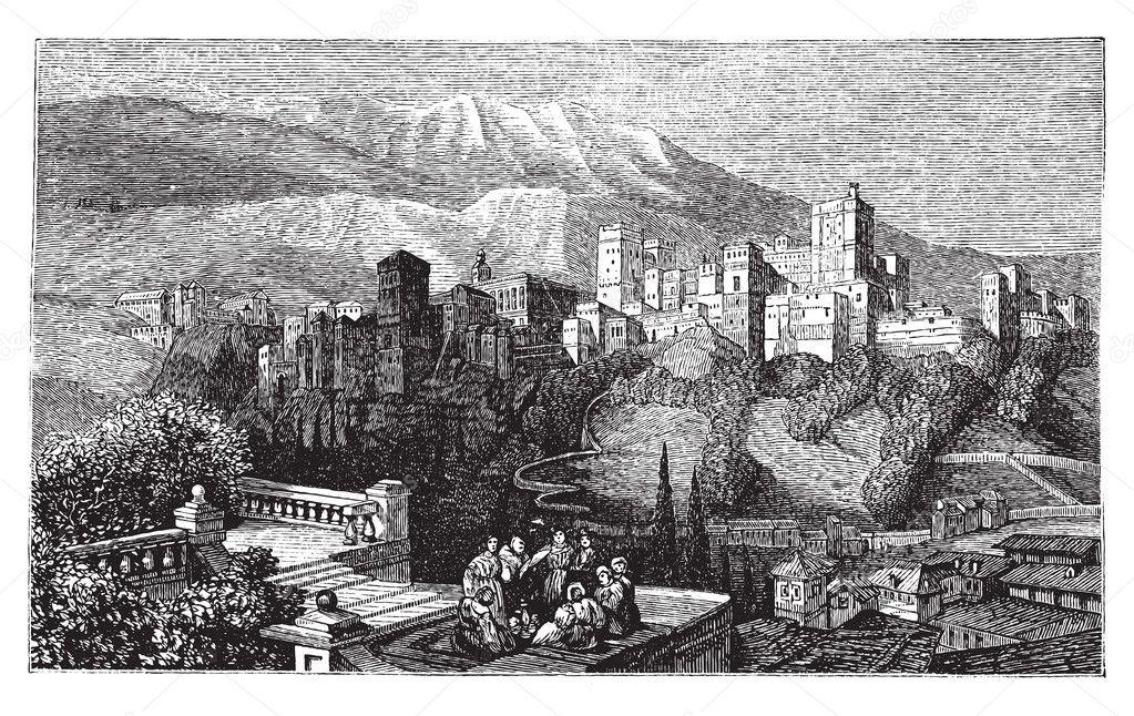 O alhambra, em granada, Espanha. velha gravura por volta de 1890 — Vetor de Stock