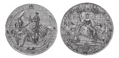 Great Seal of England by Queen Victoria vintage engraving.
