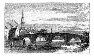 River Ayr Bridges. Old Bridge or Auld Brig over Ayr River, in Sc