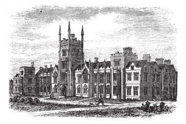 Queen's University in Belfast,Ireland, vintage engraving from th