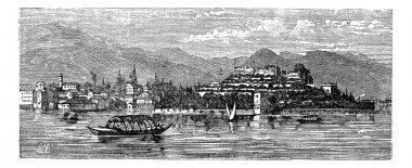 Borromean Islands, Lake Maggiore, Italy, vintage engraving.