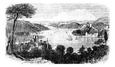 or Istanbul Strait, in Istanbul, Turkey, vintage engraving