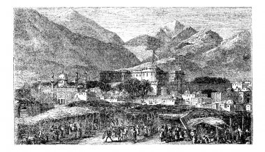 Kandahar capital city of province Afghanistan vintage engraving,