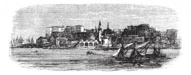 Old port of Chania, Crete, Greece vintage engraving from the 189