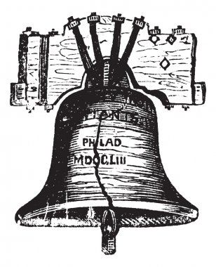 Liberty Bell, in Philadelphia, Pennsylvania, USA, vintage engrav