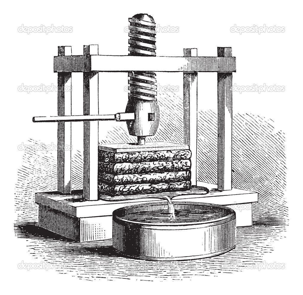 Cider Press vintage engraving