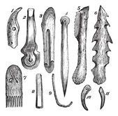 Fotografie kosti náčiní, flint a dřevo, nalezený v moosseedorf vinobraní en