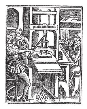 Screw press vintage engraving