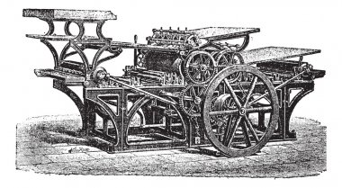 Marinoni double printing press vintage engraving