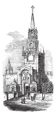 Sacred Gate at kremlin vintage engraving