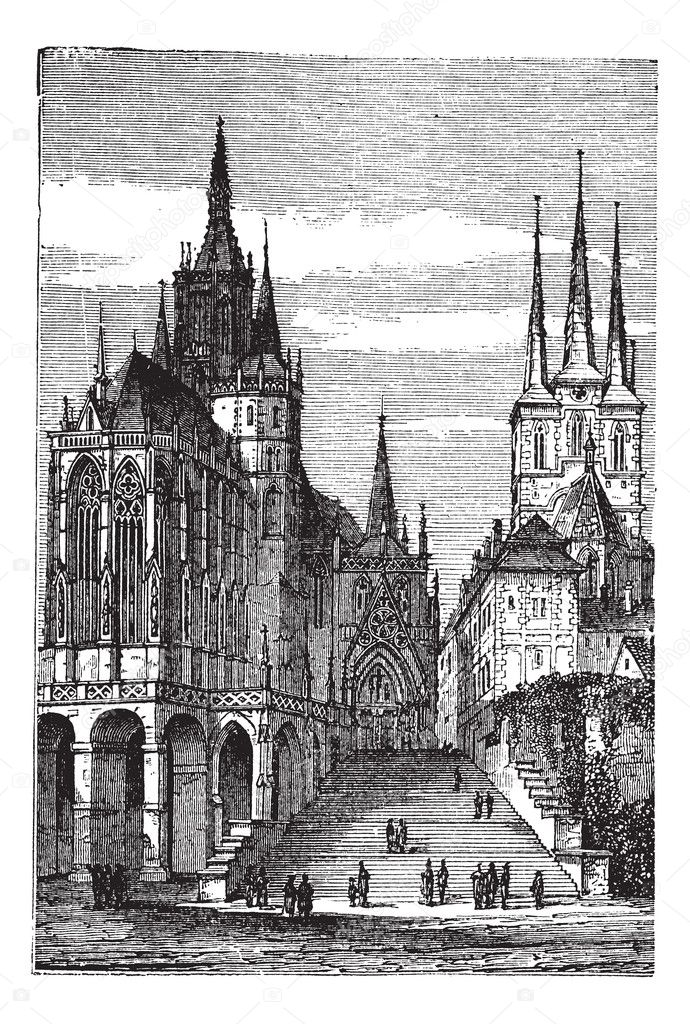 Erfurter Dom In Thuringen Vintage Gravur Stockvektor C Morphart