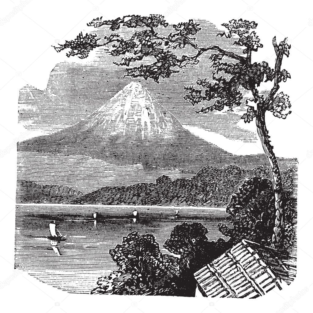 Mount Fuji in Japan vintage engraving