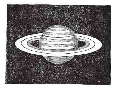 Saturn with its Rings vintage engraving
