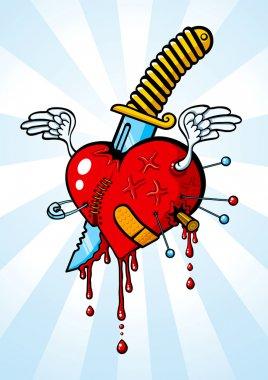 Heart pierced with a knife