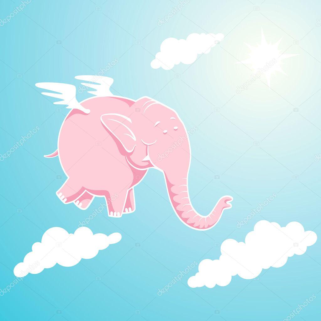 elefante rosa volador — Vector de stock © serazetdinov #5855955