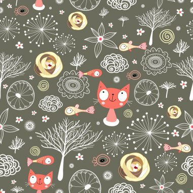 Seamless light pattern with cats and fish on a dark background clip art vector