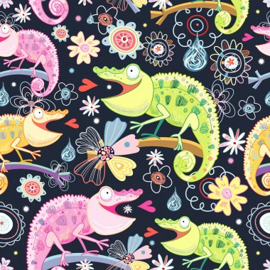 Seamless pattern of bright colored chameleons on a dark floral background clip art vector