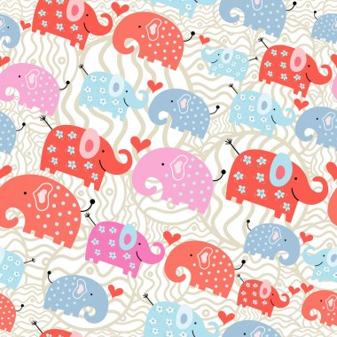 Seamless pattern of colored funny elephant decorative light background clip art vector