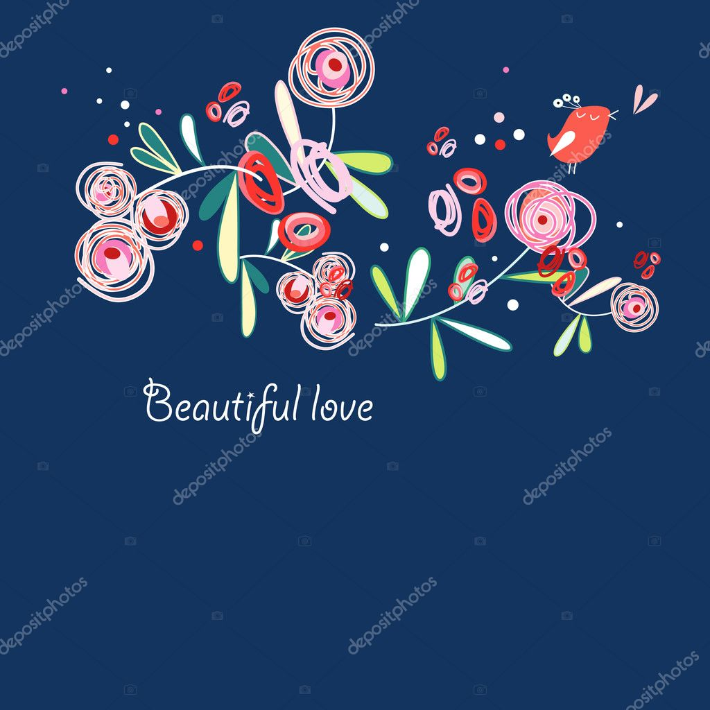 Floral Greeting Card Stock Vector Tanor 5862158
