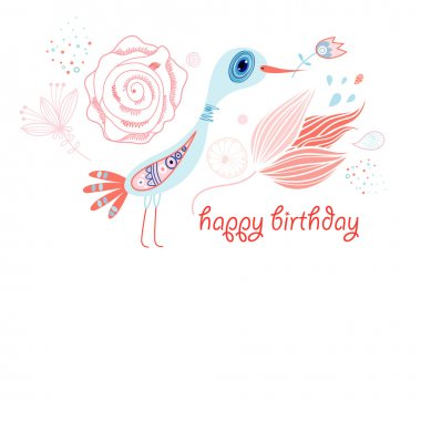 Greeting card with a bird