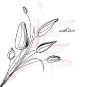 přání s náčrtek tulipány